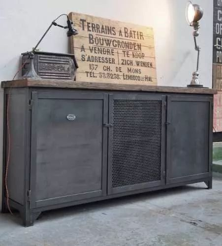 cómoda vajillero mueble madera (pinotea) y chapa industrial!