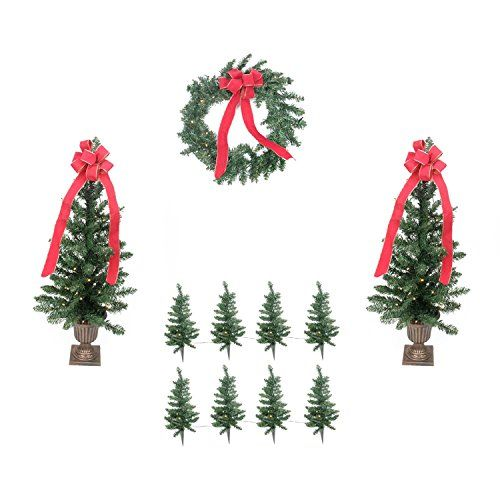 Prelit BO Traditional Pine Artificial Outdoor Christmas Entrance Set Clear Lights ** You can find more details by visiting the image link.