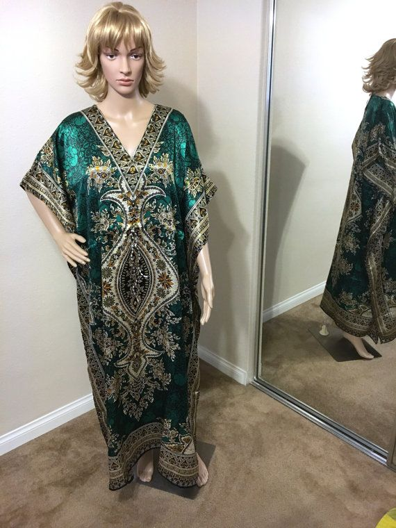 Lovely Green Satin Long Kaftan Caftan Cover Up Dress for Women