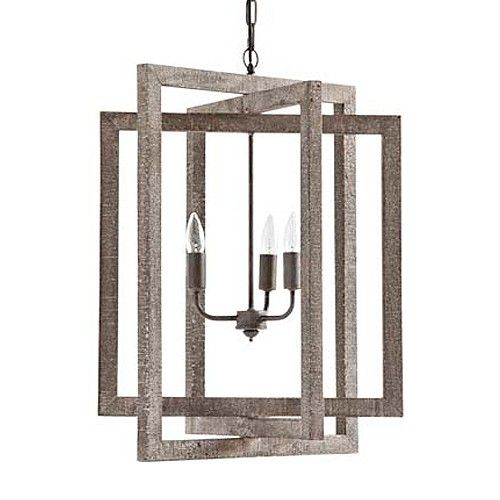 Simple, rustic, coastal inspired wood and metal chandelier.