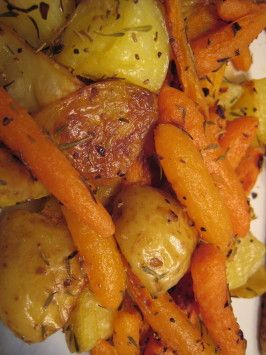 """Roasted Potatoes and Baby Carrots With Garlic Peel and cut big carrots. Sprinkle with chopped fresh rosemary. Add a large onion 1"""" pieces. Way less salt."""