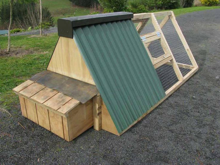 Our friends coop looks like this, but they added wheels on the back so it can be moved easily around the yard. The wheels fold up so it sits flat on the ground.