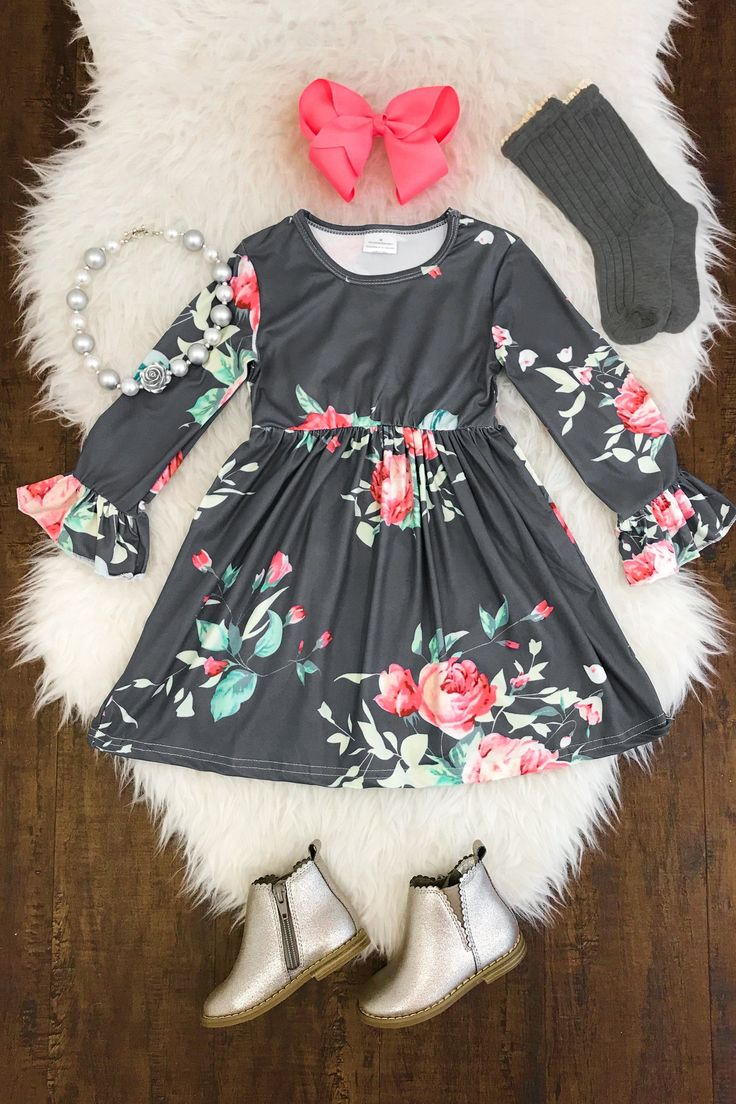 Ava Floral Bell Sleeve Dress #cutestbabyclothes