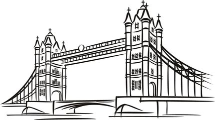 Tower Bridge in London coloring page