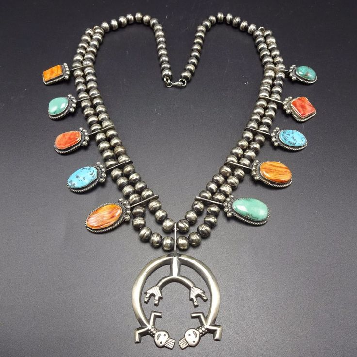 Vintage NAVAJO Spiny Oyster Shell TURQUOISE SQUASH BLOSSOM Necklace HARRY MORGAN $1,028.11