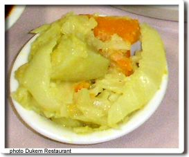 Atkilt Wot (cabbage/vegetable stew). A side dish for Ethiopian Dinner Party