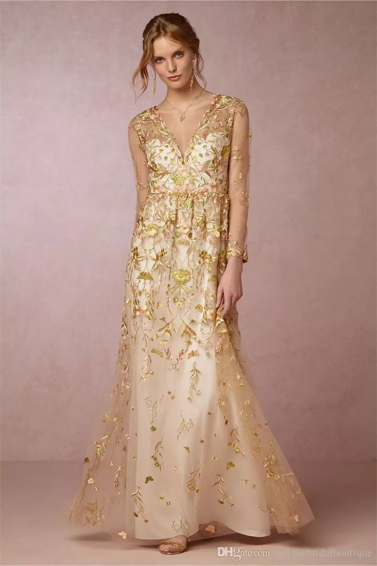 2017 Gold Wedding Dresses Bhldn With Illusion Long Sleeves And V Neck Appliques Tulle Cinderella Inspired Fairy Bridal Gowns 3d Floral Dresses Online Shopping Gold Wedding Dresses From Uniquebridalboutique, $160.07| Dhgate.Com