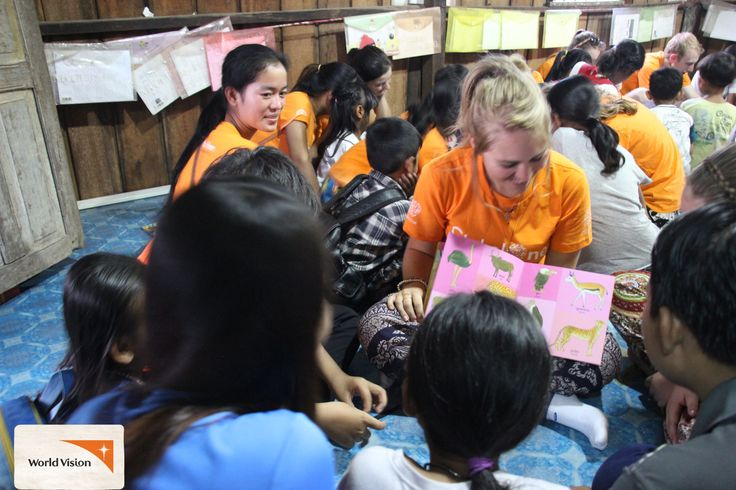#WorldVision Field Experiences trip participants visiting an informal school in #Cambodia. Children are so keen to learn that they attend in their own time in the hope of learning more and especially learning #English and Computing. You can go overseas with #WorldVision and experience our work first-hand.