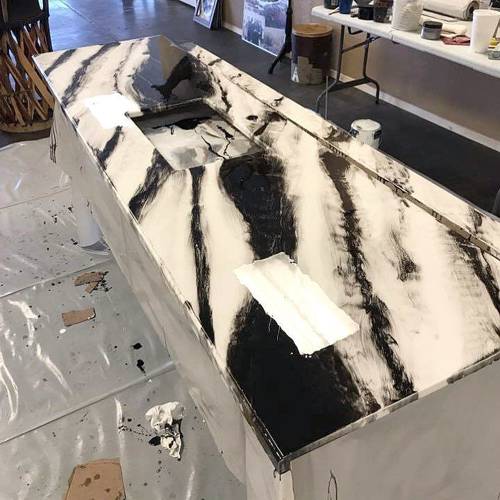 Check Out This Bold Black And White Epoxy Countertop Our Customer