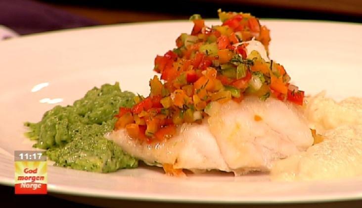 Ovnsbakt hvit fisk med paprika