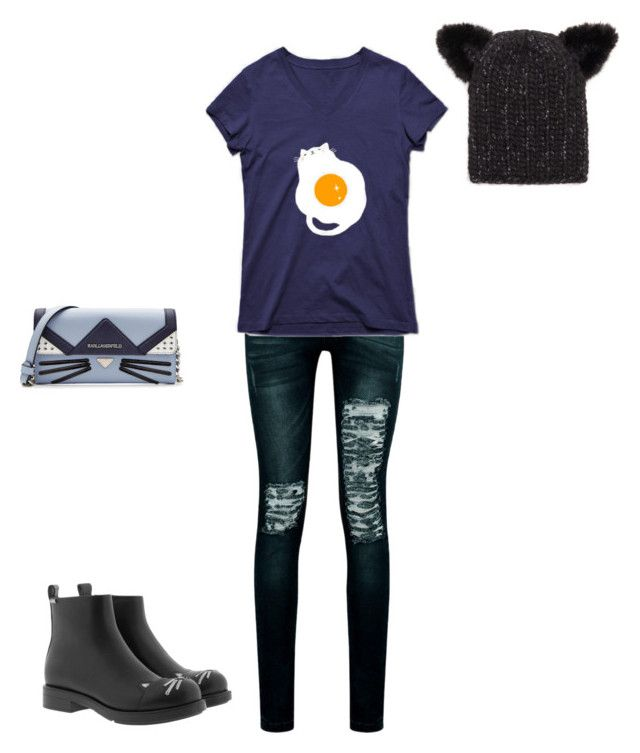 """""""Untitled #104"""" by susan-v on Polyvore featuring Karl Lagerfeld, Boohoo and Eugenia Kim"""