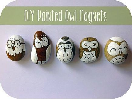 owl magnets. Such a cute idea to paint rocks and make magnets! MY OWL BARN
