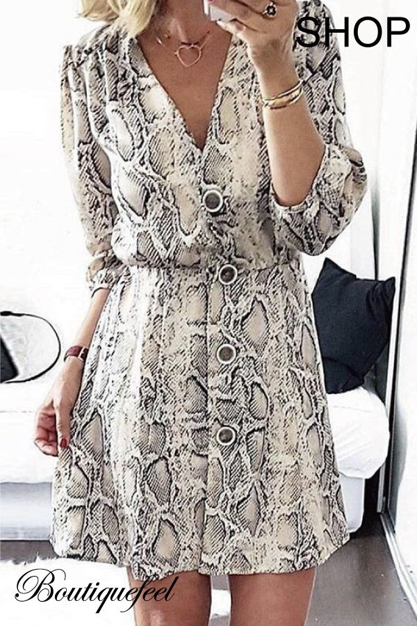... sexy women fashion at Boutiquefeel. Snakeskin Print Button Design  Casual Dress f4f9271ed