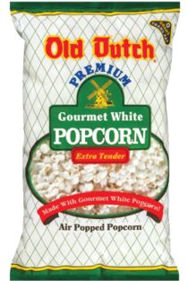 Popcorn Salad - Ingredients:    1 Bag of Old Dutch White Gourmet Popcorn  2 Bunches of Green Onions, chopped  2 Cups of Celery, chopped  2 Cans of Sliced Water Chestnuts, chopped  2 lbs. of Cooked Bacon, crumbled  Recipe Variations    Mix mayonnaise, sugar, vinegar and set aside.  In a large bowl mix together Old Dutch White Gourmet Popcorn, green onions, celery, bacon, and shredded cheese.