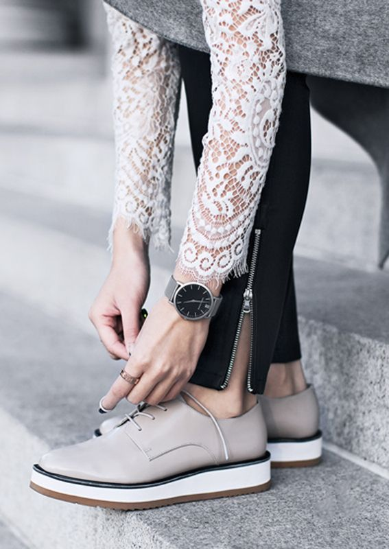 oxford shoes | lace sleeves                                                                                                                                                      More