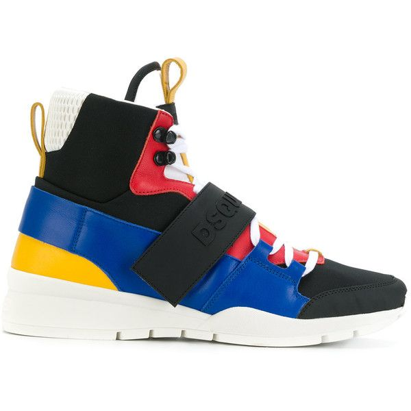 Dsquared2 high-top sneakers ($865) ❤ liked on Polyvore featuring men's fashion, men's shoes, men's sneakers, mens leather high top shoes, mens leather lace up shoes, mens high top shoes, mens round toe shoes and mens high top sneakers