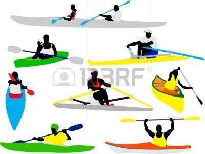 canoa y kayak remeros silueta Foto de archivo