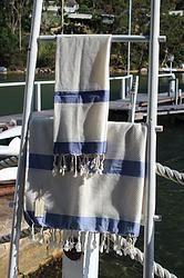 Hand towel - Bamboo - thick indigo stripe