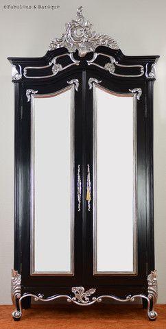 Emmanuelle 2 Door Mirrored Armoire - Black & Silver Leaf