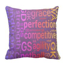 Inspirational Netball Positions and Words Design Throw Pillow