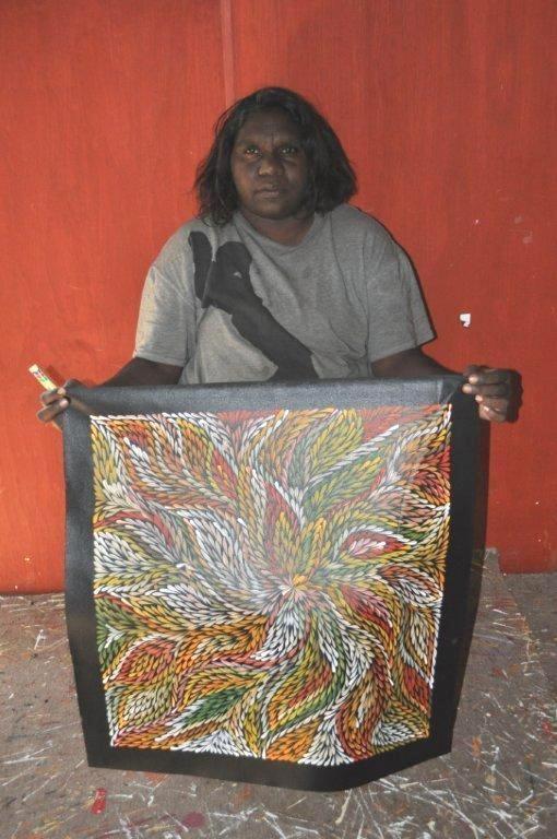Dulcie Long Pula / Bush Leaves Aboriginal Art – Buy Authentic Australian Indigenous Artworks and Paintings