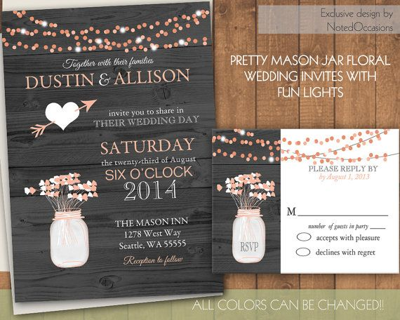 Rustic Wedding Invitations | Mason jar & dangling lights | on wood grain background- printable digital files by NotedOccasions, $35.00