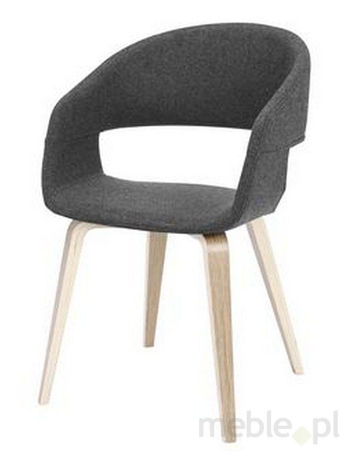 Krzesło NOVA szare, poliester, drewno olejowane 22144-3