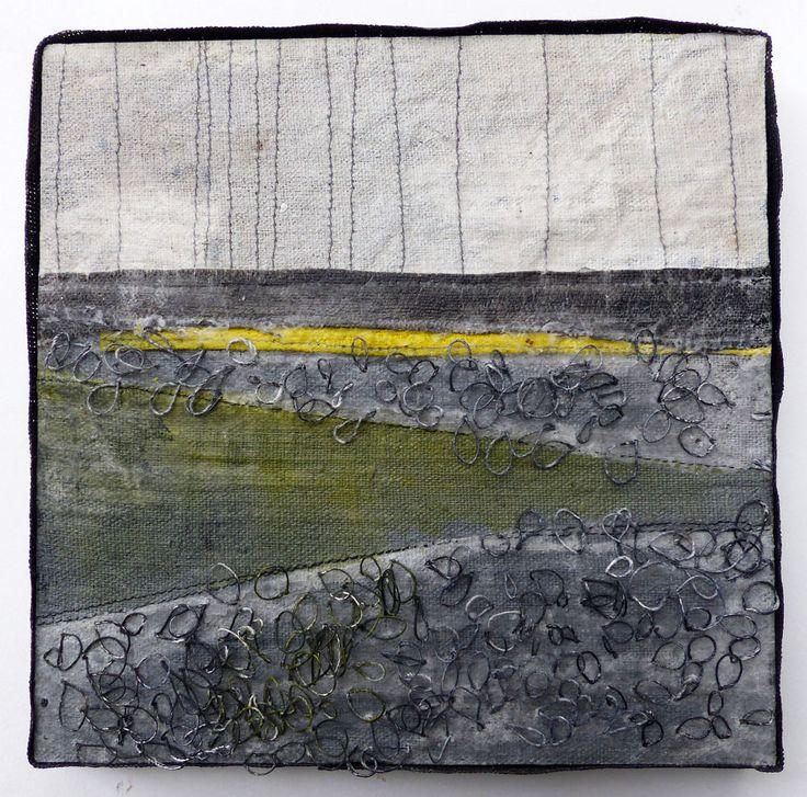 Marshscape Collage #3/16, Linen, wax, 20 x 20 cms