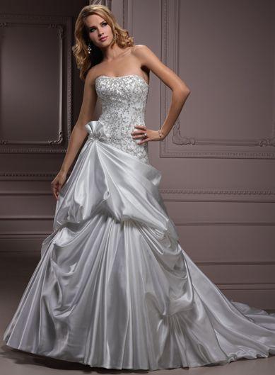 Natural waist chapel train sleeveless satin perfect bridal for Lazaro a line wedding dress