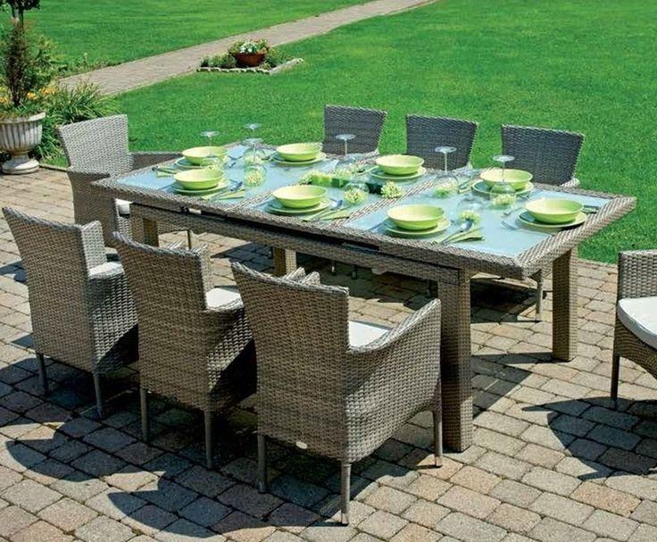 Tavolo pranzo allungabile Poitiers rattan sintetico da giardino ( RTW 82)