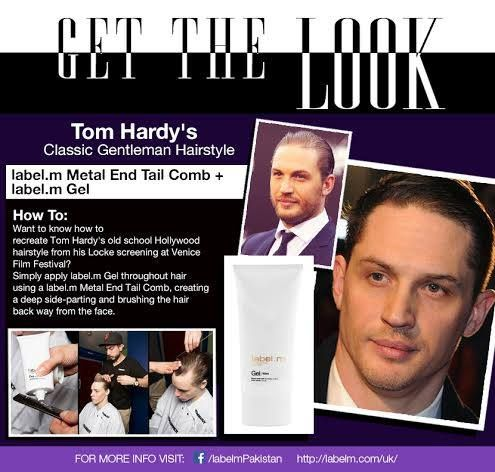 om Hardy's Classic Gentleman Hairstyle  How-To  Want to know how to recreate Tom Hardy's old school Hollywood hairstyle from his Locke screening at Venice Film Festival? Simply apply label.m Gel throughout hair using a label.m Metal End Tail Comb, creating a deep side-parting and brushing the hair back way from the face.