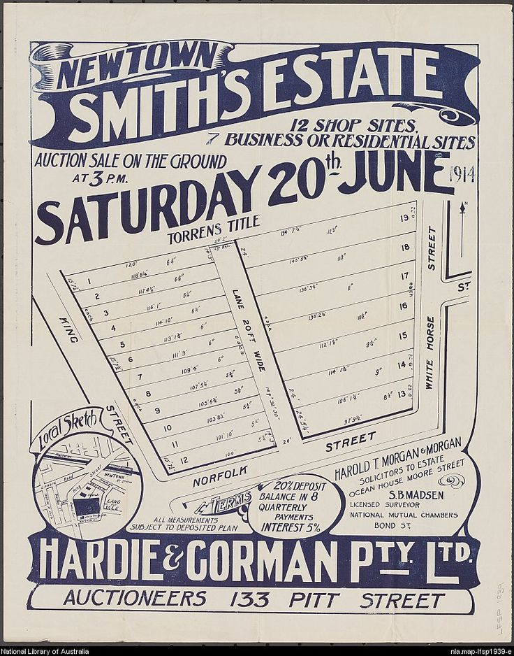 Hardie & Gorman Pty. Ltd. Newtown, Smith's Estate : 12 shop sites, 7 business or residential sites : auction sale on the ground at 3 p.m., Saturday 20th June 1914. National Library of Australia: http://nla.gov.au/nla.map-lfsp1939
