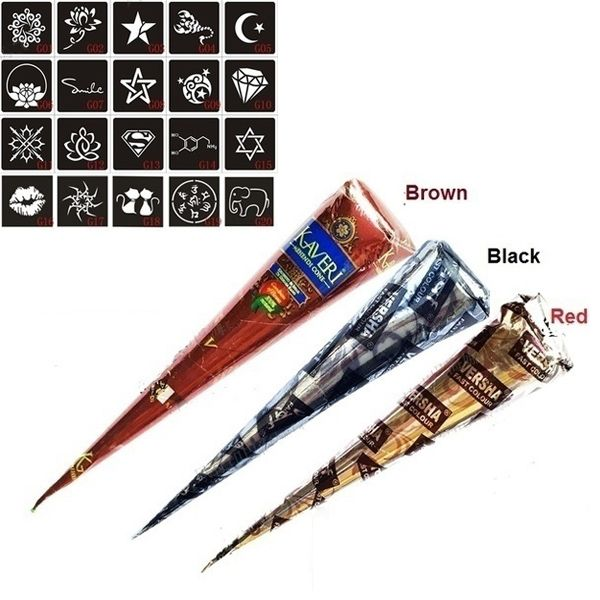 3 Pcs Henna Cones Red Brown Black + 20pcs Stencils Temporary Tattoo Kits Body Art Mehandi Ink For Body Paint  2017 HS11 #Affiliate