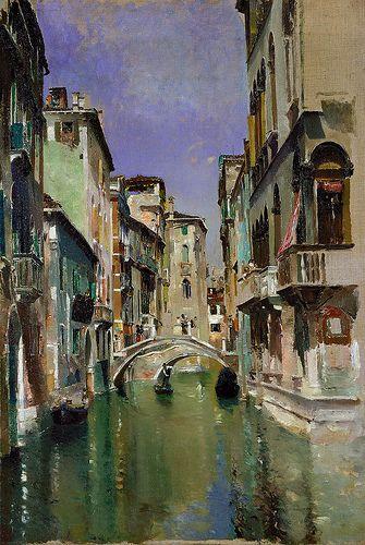 Robert Frederick Blum. Canal in Venice, San Trovaso Quarter, c. 1885. Oil on canvas.