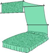 A canopy bed drape tutorial. Many more tutorials. Definitely worth a look.