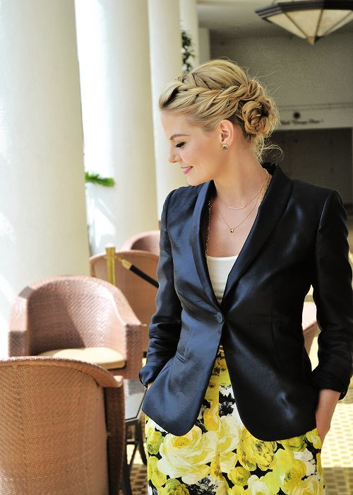 Structured blazer with feminine skirt...or I hope it's a skirt. Love the bright floral                                                                                                                                                     More