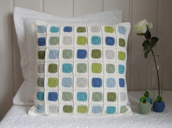 crochet pillow cover modern geometric patchwork mosaic in green and blue ready to ship