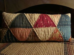 PRIMITIVE-ANTIQUE-LATE-1800-TRIANGLE-QUILT-PILLOW-EARLY-AMERICAN