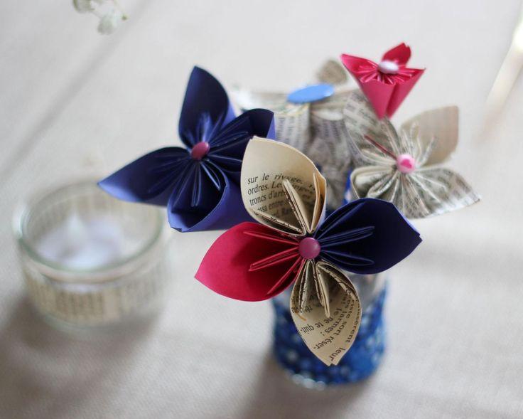 Mariage bleu fleurs en papier- Solange Alia