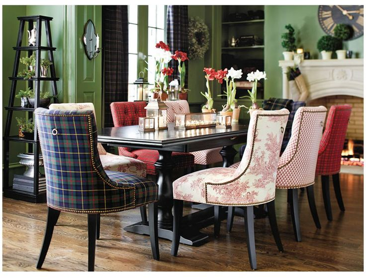 Fabric Mix Suzanne Kasleru0027s Green Holiday Plaid On Dining Chairs