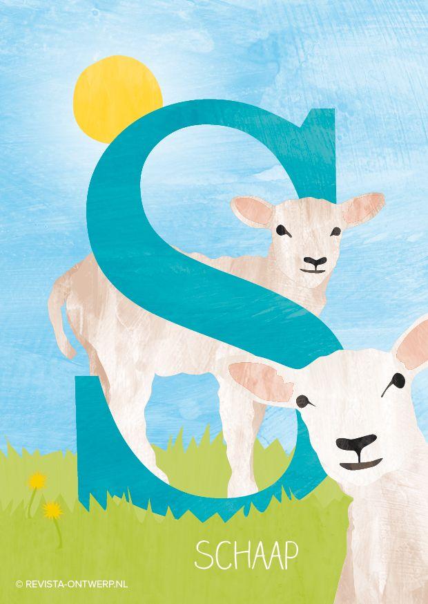 De S is van schaap, vrolijk staat hij in de wei. En omdat het lente is, een lammetje erbij!