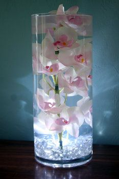 Centerpiece...minus the light, add a floating candle on top