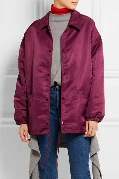 Burgundy satin  Snap fastenings through front 100% nylon  Dry clean Designer color: Prune Imported