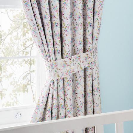 Dunelm Floral Pink and Blue Ditsy Blackout Pencil Pleat Curtains