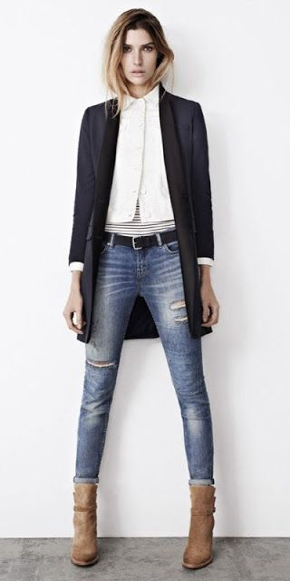 Just a pretty style | Latest fashion trends: All saints look | Strict collar vest with blazer and distressed jeans