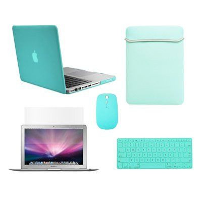 "Top Case Macbook Pro 13"" (A1278 / with or without Thunderbolt) 5 in 1 Bundle - Rubberized Hard Case Cover + Matching Color Soft Sleeve Bag + Wireless Mouse + Silicone Keyboard Cover + LCD HD Clear Screen Protector - NOT FOR RETINA DISPLAY (HOT BLUE)"