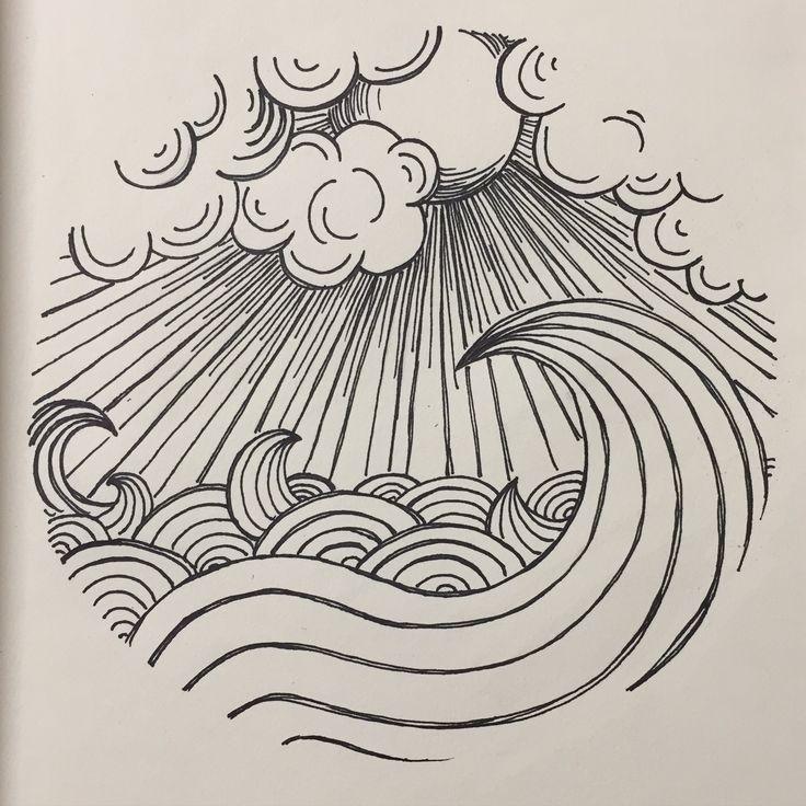 circle, ocean, sea, sky, clouds, sun