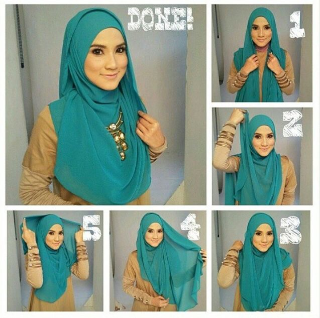 Simple and Easy Teal Hijab Tutorial