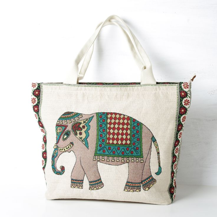 Elephants, respected animal, large capacity of a bag  Material: cotton / yarn dyed process   Net weight: 0.38KG   Dimensions: 41 x 8 x 34 cm