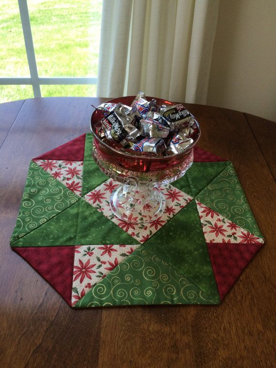 Christmas Red, Green & Beige Poinsettia Quilted Table Runner -Table Topper - reversible